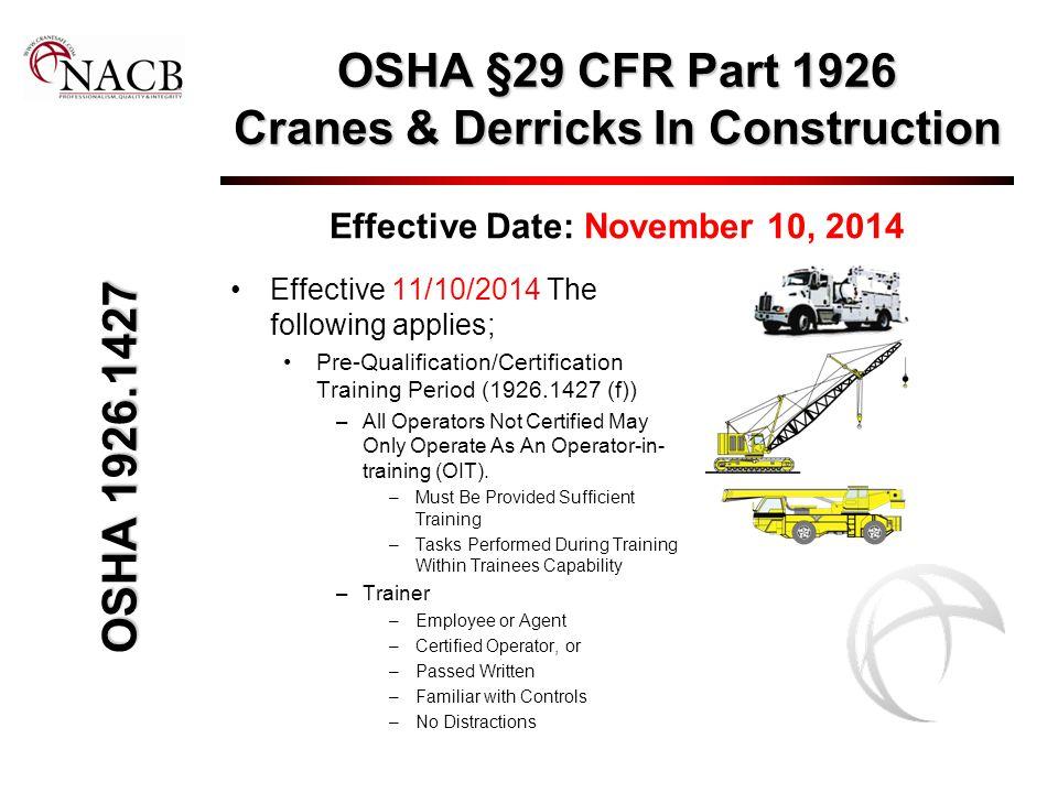 OSHA §29 CFR Part 1926 Cranes & Derricks In Construction