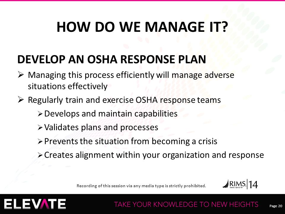HOW DO WE MANAGE IT DEVELOP AN OSHA RESPONSE PLAN