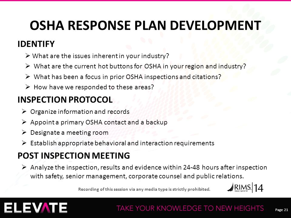 OSHA RESPONSE PLAN DEVELOPMENT