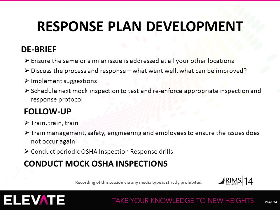 RESPONSE PLAN DEVELOPMENT