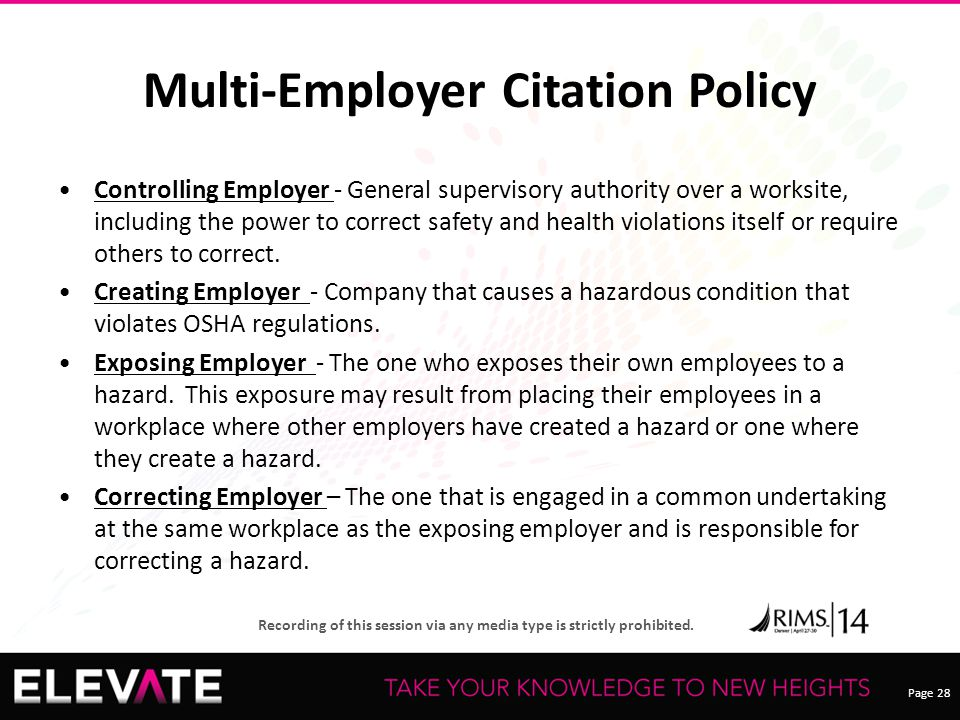 Multi-Employer Citation Policy