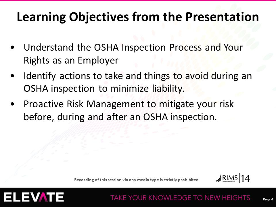 Learning Objectives from the Presentation
