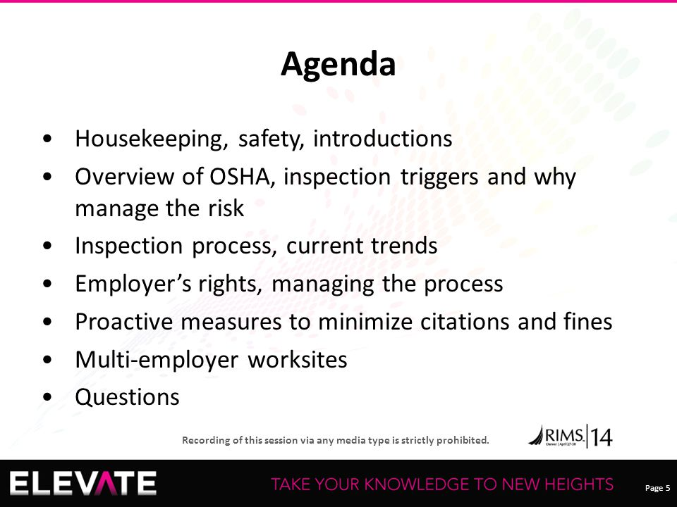 Agenda Housekeeping, safety, introductions