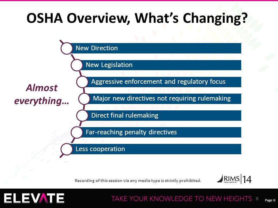 OSHA Overview, What's Changing