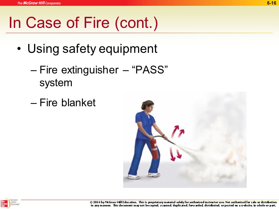 In Case of Fire (cont.) Using safety equipment