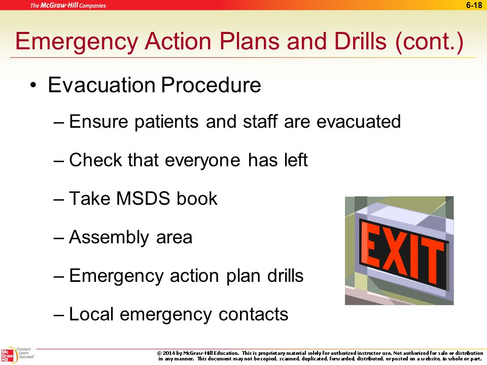 Emergency Action Plans and Drills (cont.)