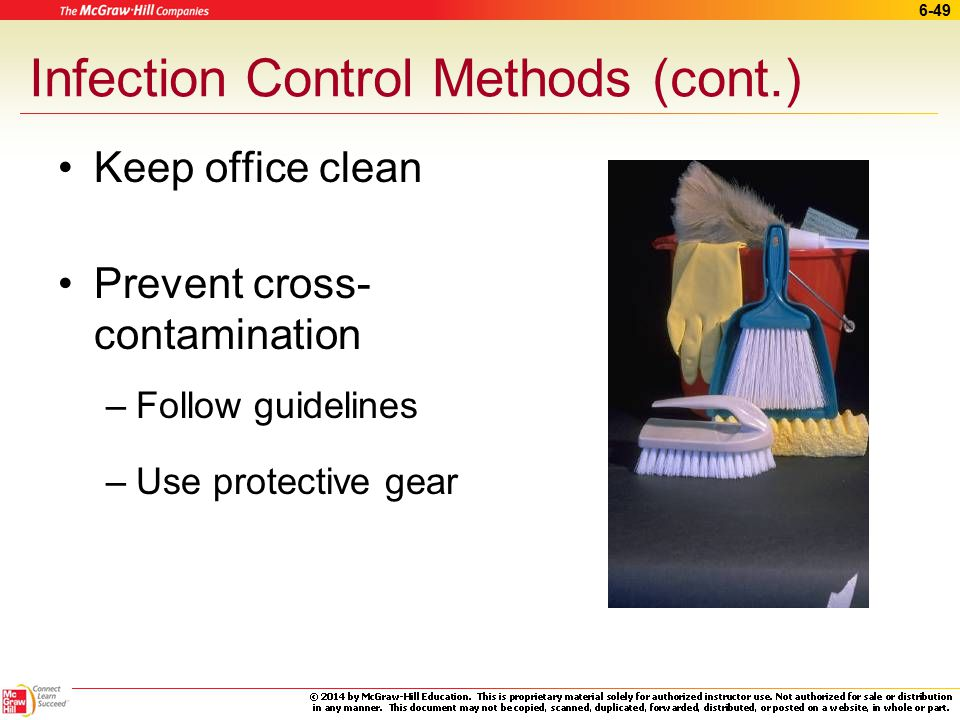 Infection Control Methods (cont.)