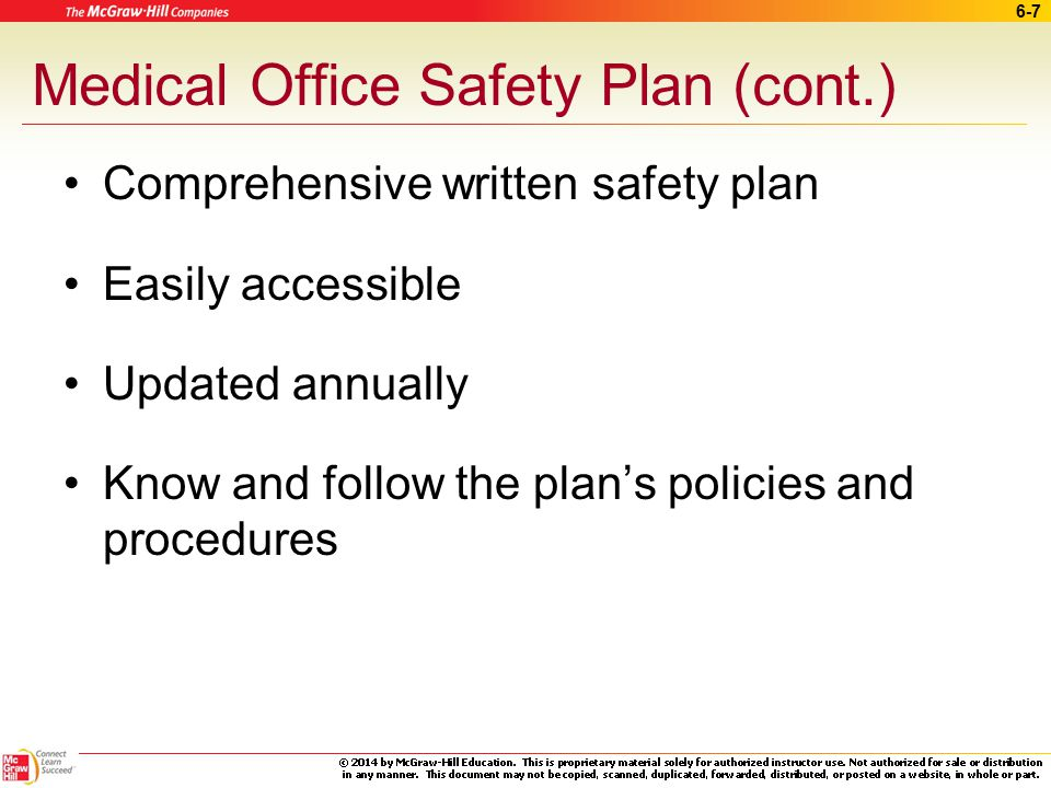 Medical Office Safety Plan (cont.)