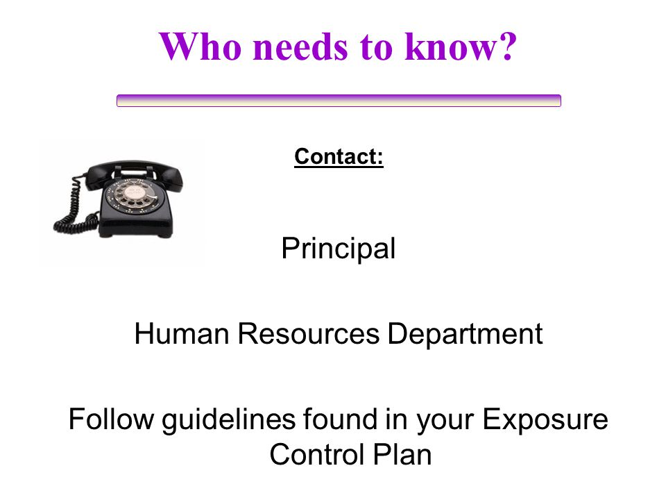 Who needs to know Principal Human Resources Department