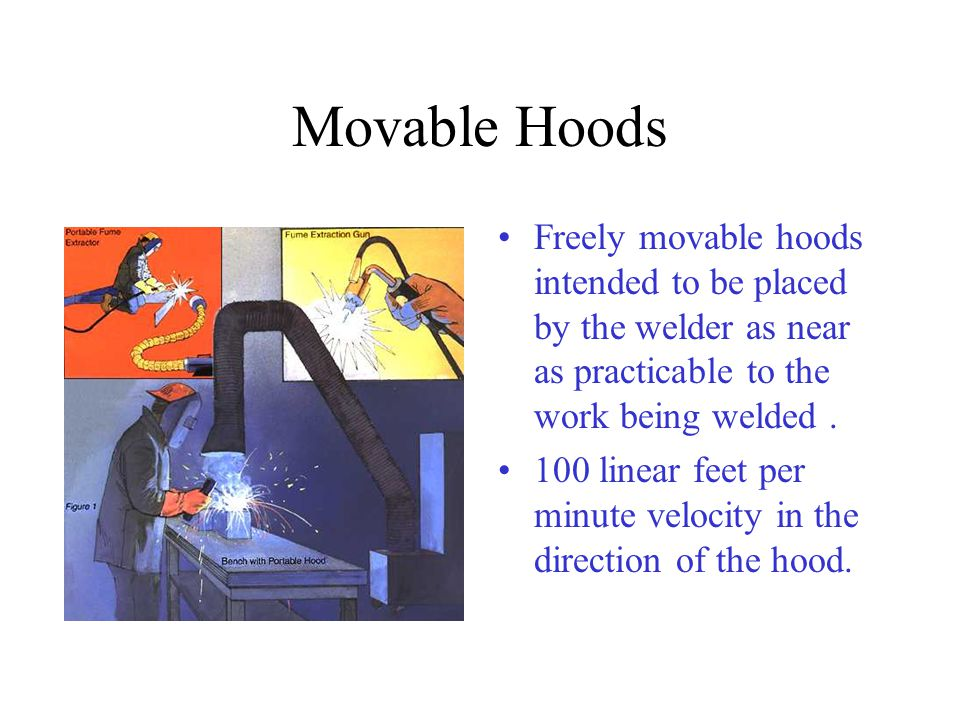 Movable Hoods Freely movable hoods intended to be placed by the welder as near as practicable to the work being welded .