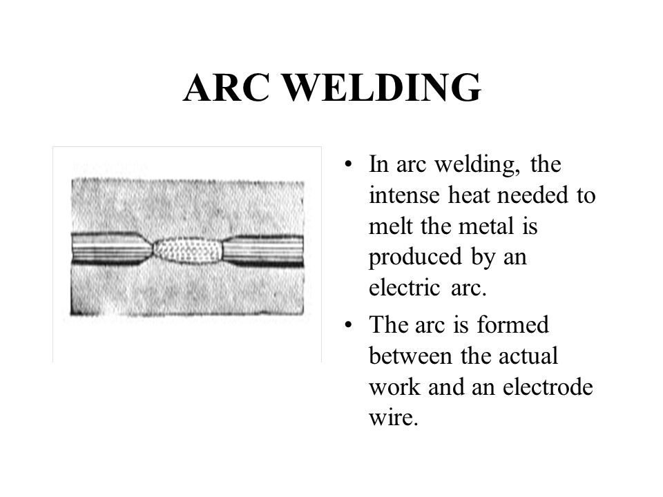 ARC WELDING In arc welding, the intense heat needed to melt the metal is produced by an electric arc.