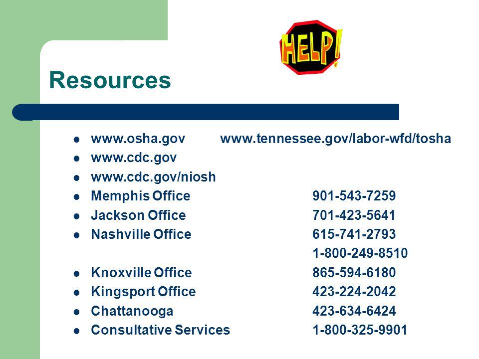 Resources www.osha.gov www.tennessee.gov/labor-wfd/tosha www.cdc.gov