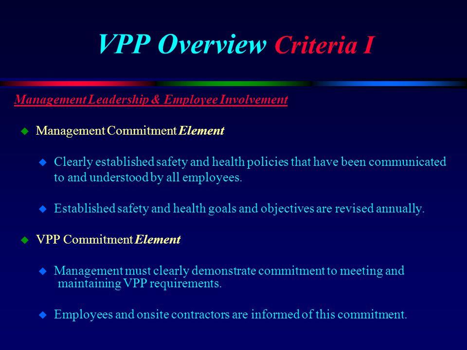 VPP Overview Criteria I