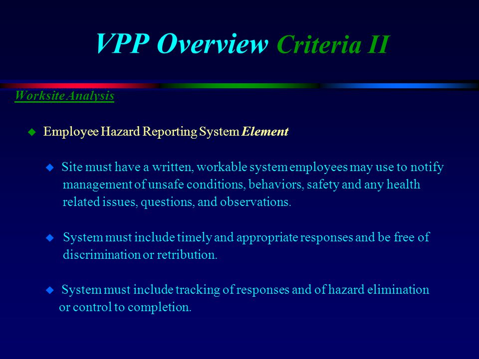 VPP Overview Criteria II