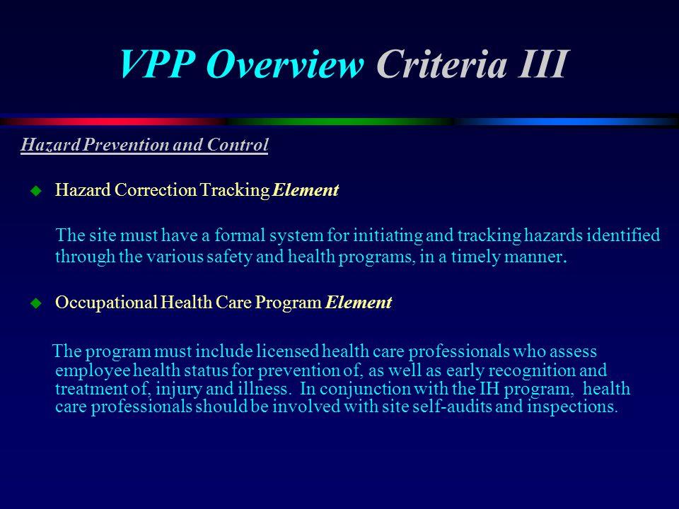 VPP Overview Criteria III