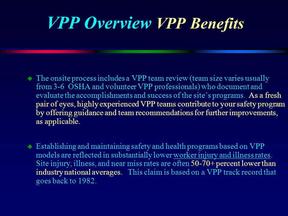 VPP Overview VPP Benefits