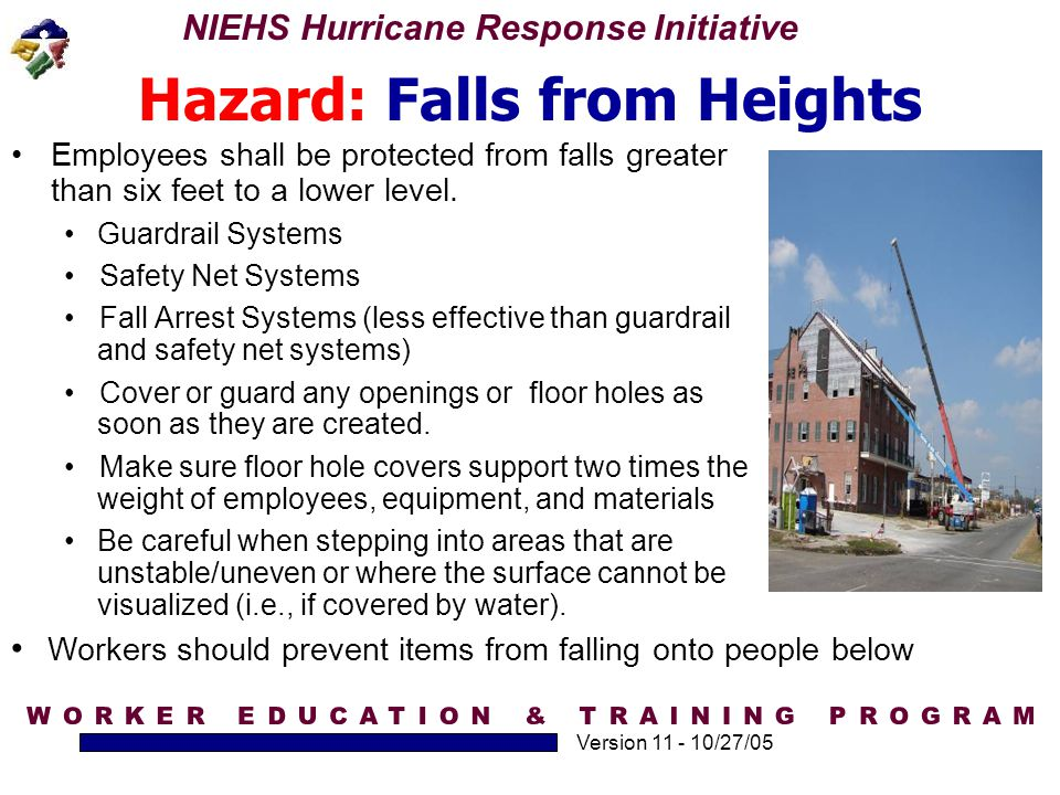 Hazard: Falls from Heights