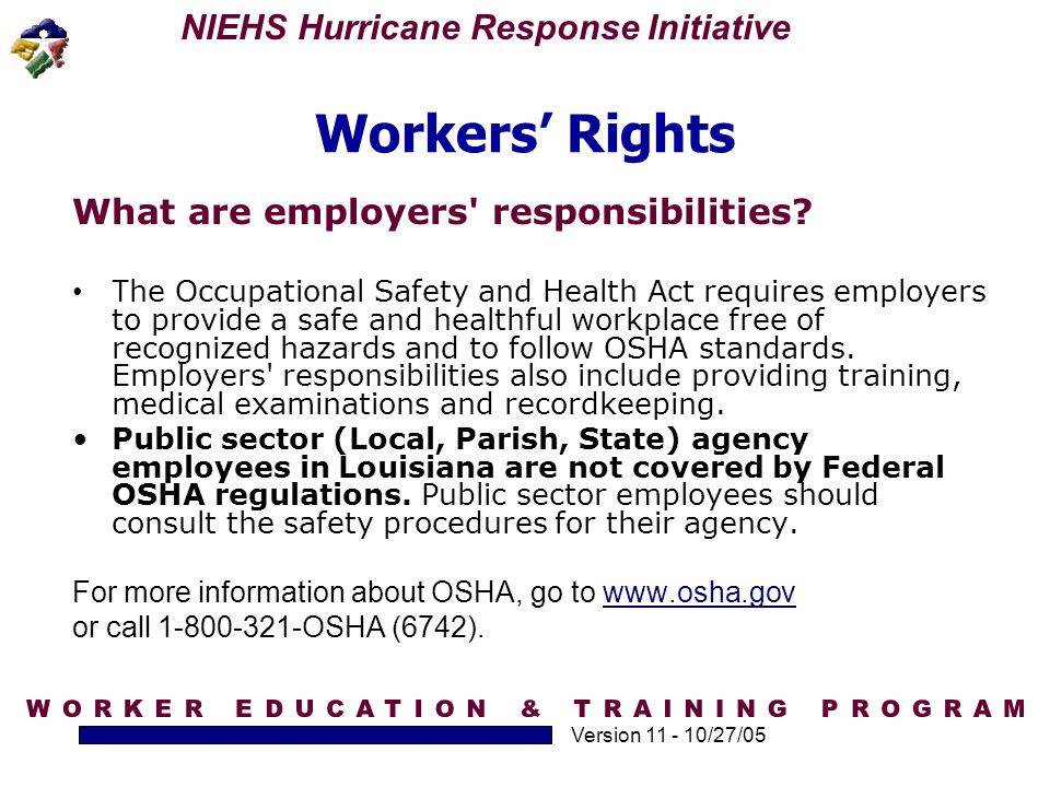 Workers' Rights What are employers responsibilities