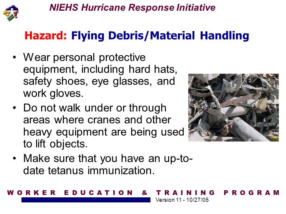 Hazard: Flying Debris/Material Handling