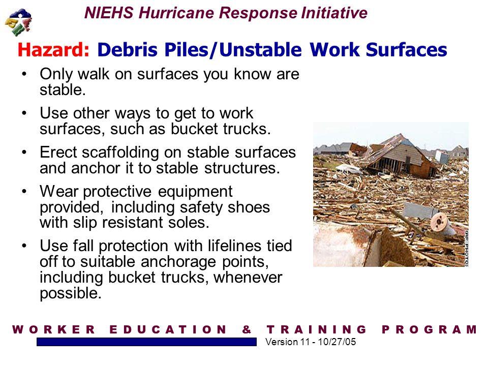 Hazard: Debris Piles/Unstable Work Surfaces