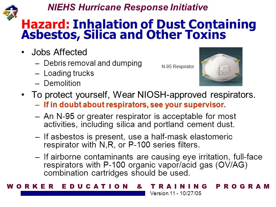 Hazard: Inhalation of Dust Containing Asbestos, Silica and Other Toxins