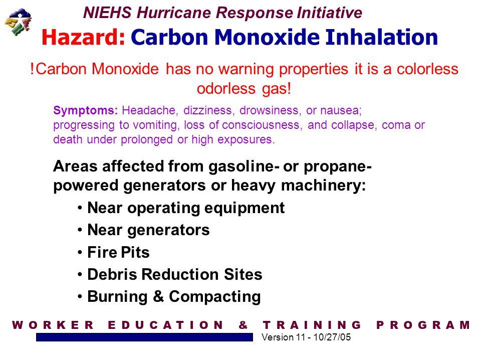 Hazard: Carbon Monoxide Inhalation