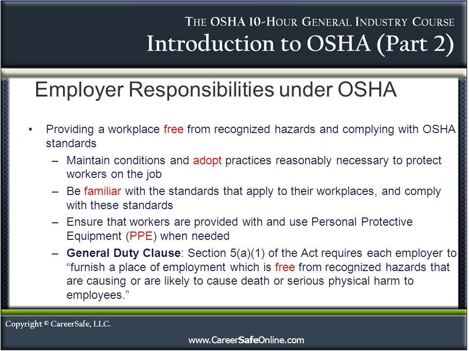 Employer Responsibilities under OSHA