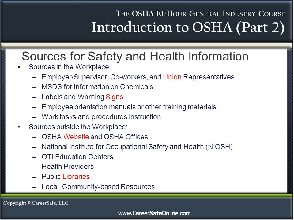 Sources for Safety and Health Information
