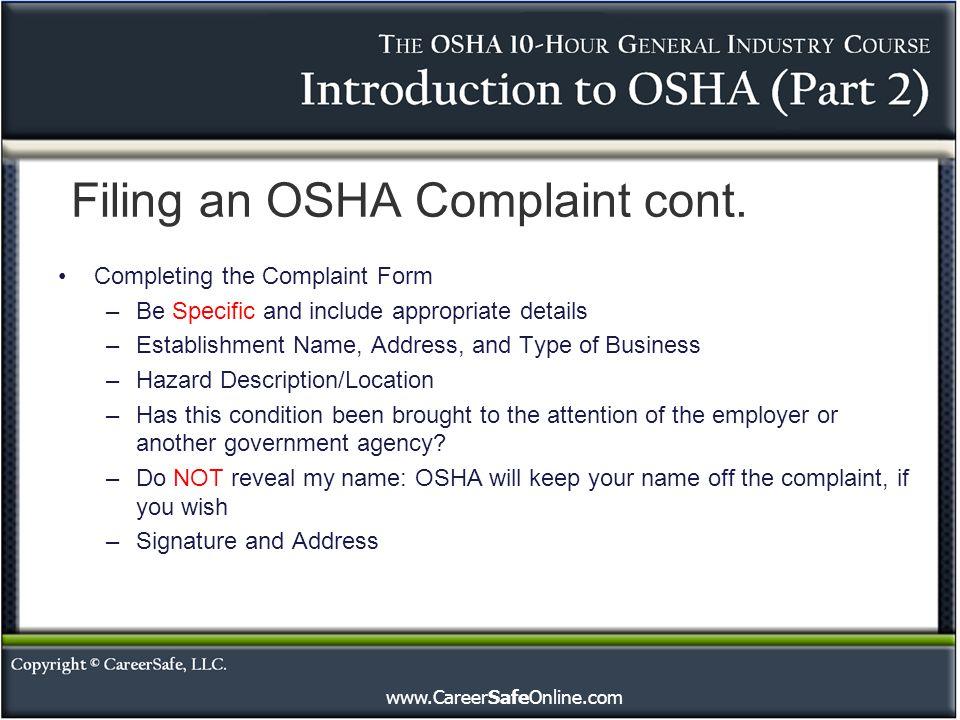 Filing an OSHA Complaint cont.