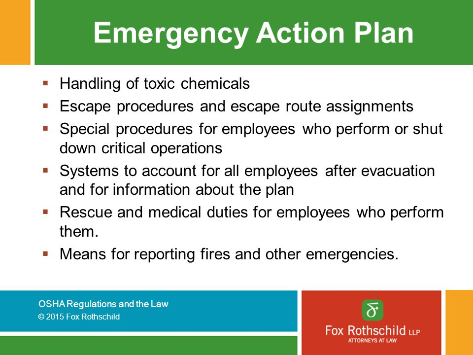 Emergency Action Plan Handling of toxic chemicals
