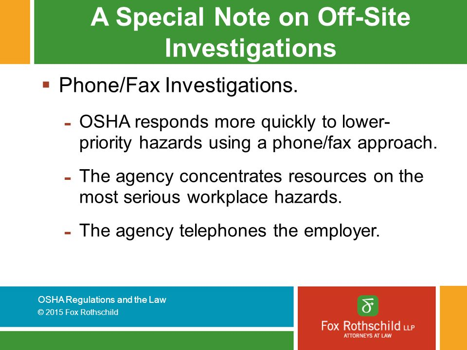 A Special Note on Off-Site Investigations