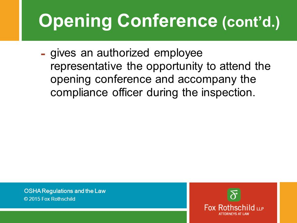 Opening Conference (cont'd.)