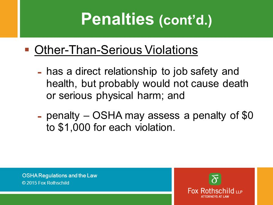 Penalties (cont'd.) Other-Than-Serious Violations