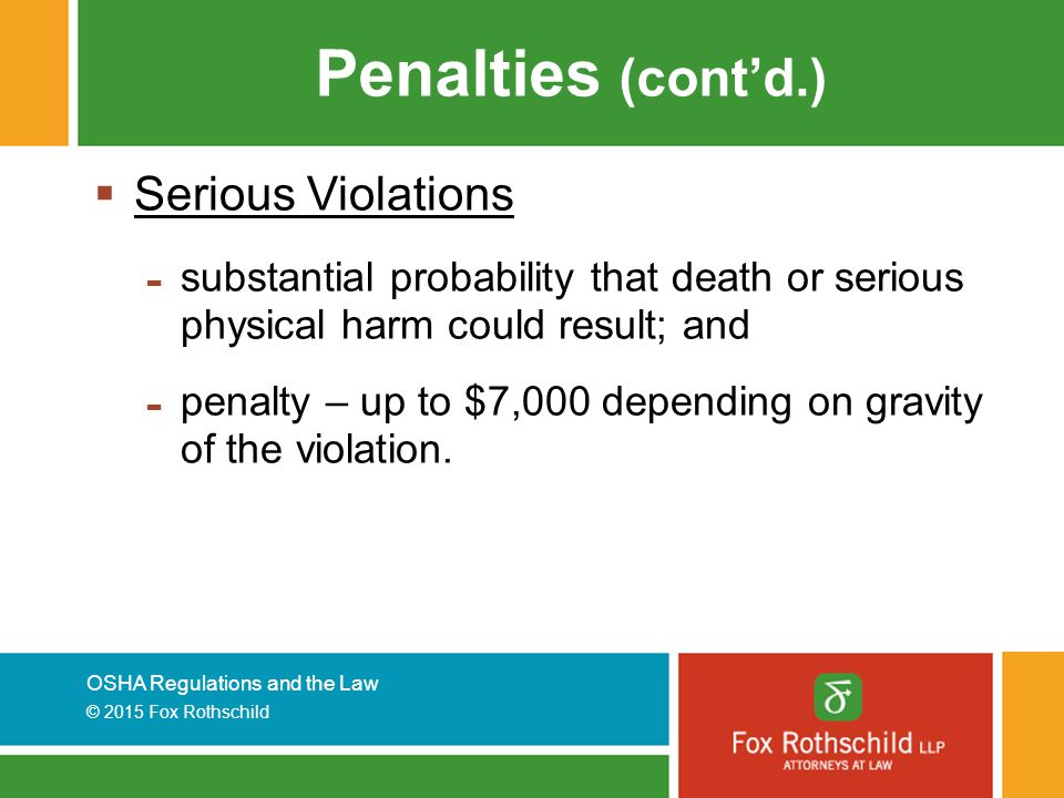 Penalties (cont'd.) Serious Violations