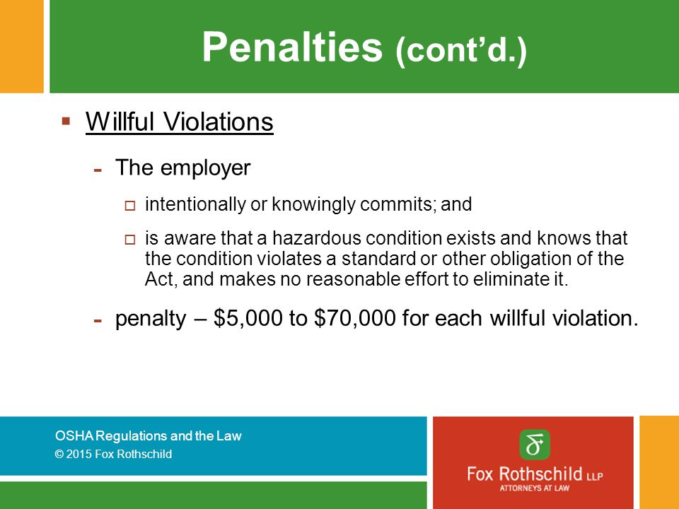 Penalties (cont'd.) Willful Violations The employer