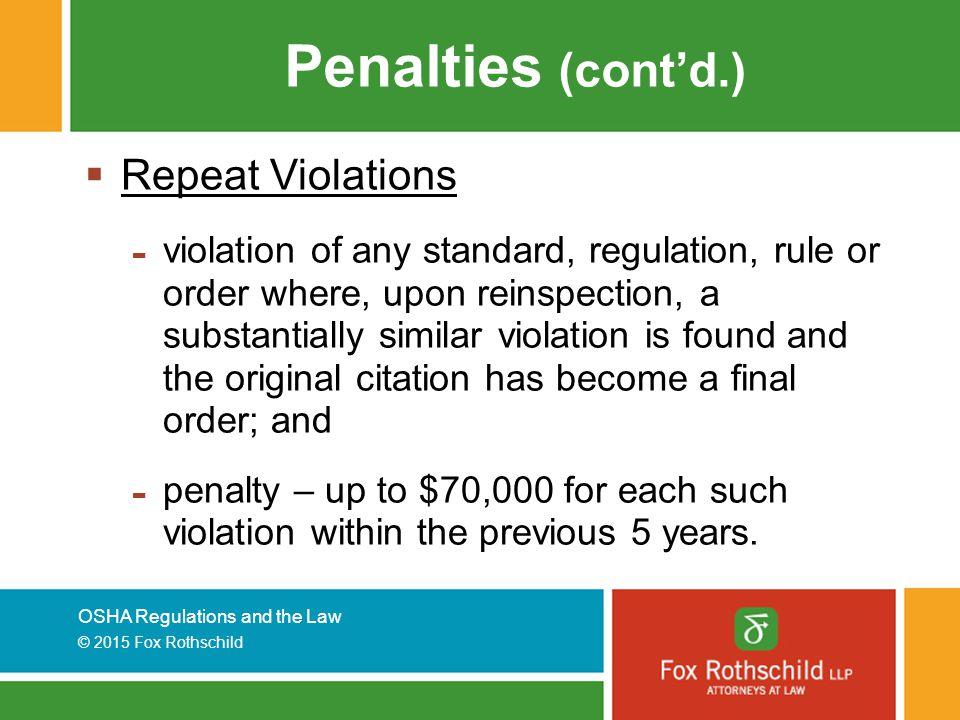 Penalties (cont'd.) Repeat Violations