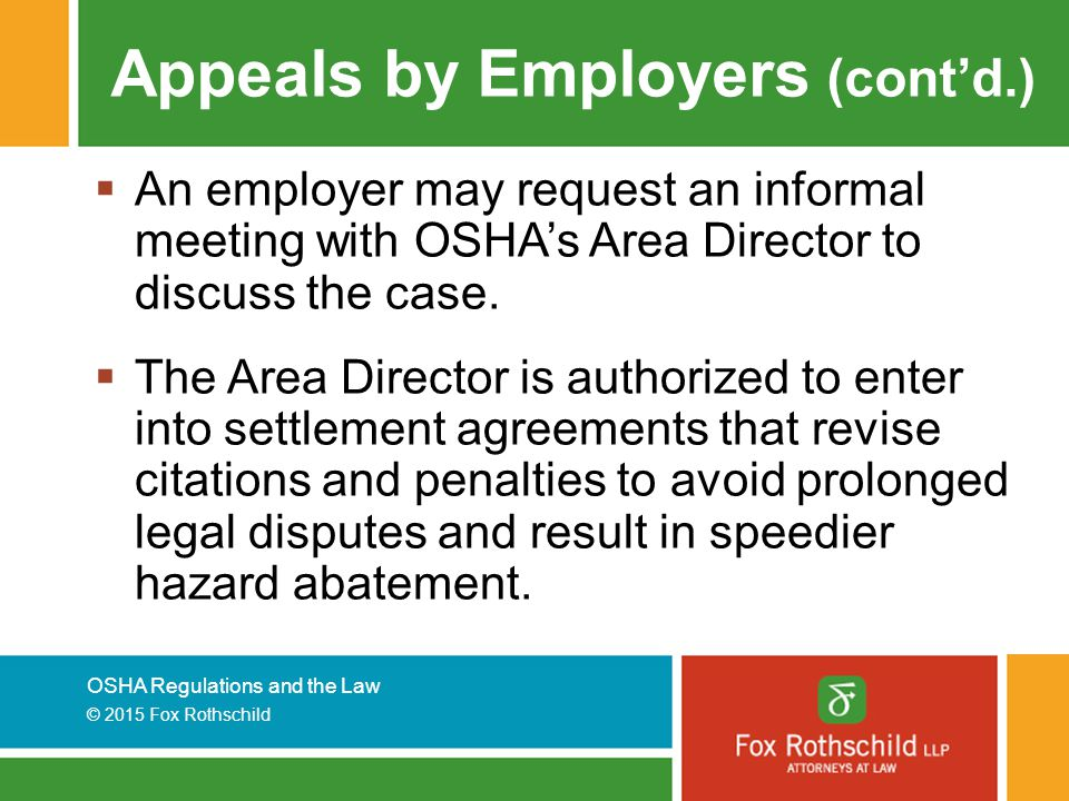 Appeals by Employers (cont'd.)