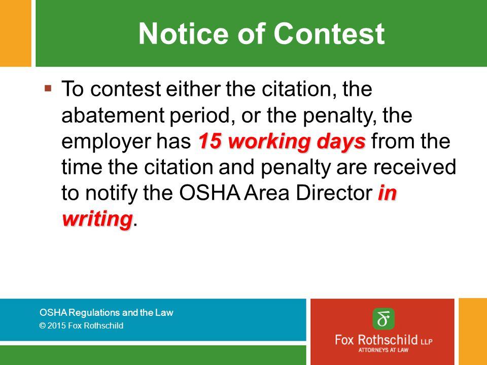Notice of Contest