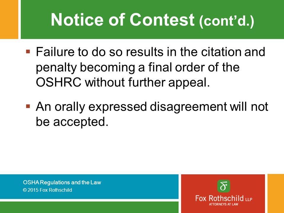 Notice of Contest (cont'd.)