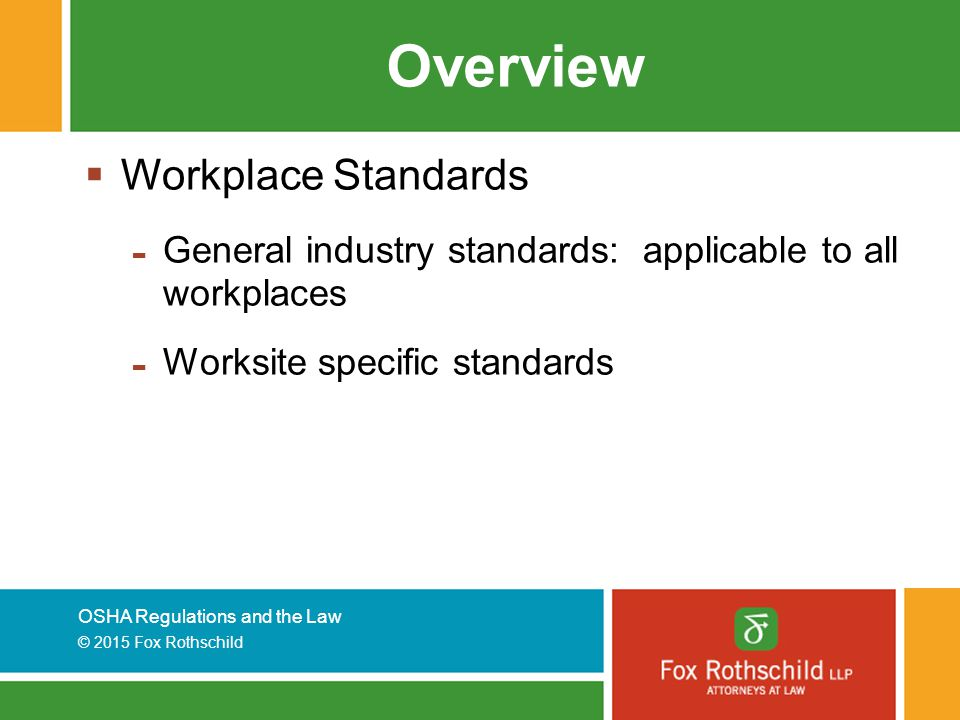 Overview Workplace Standards
