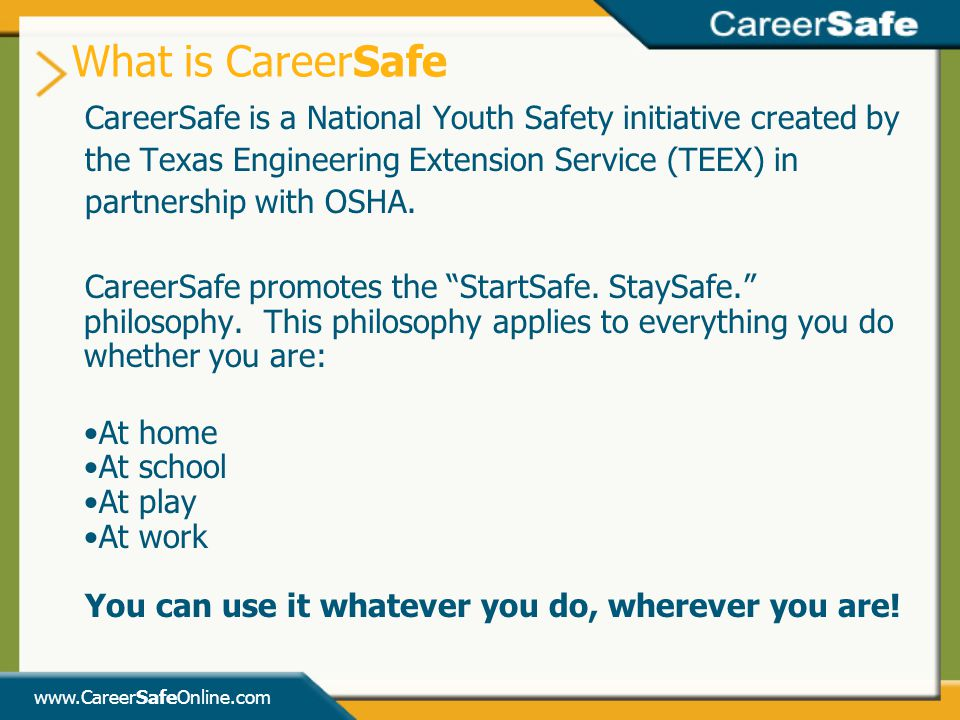 What is CareerSafe CareerSafe is a National Youth Safety initiative created by. the Texas Engineering Extension Service (TEEX) in.