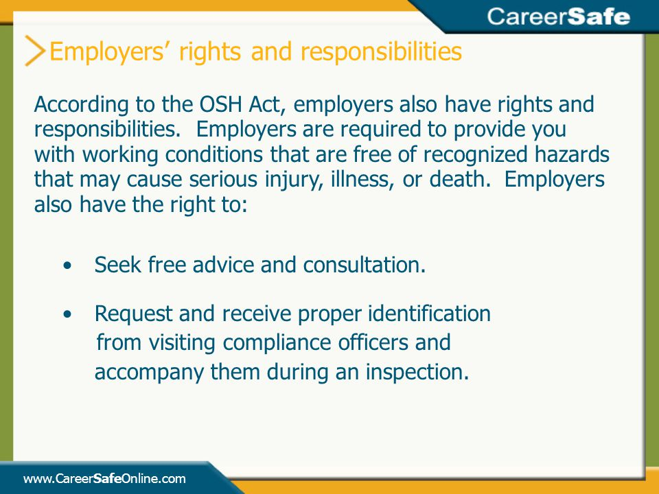 Employers' rights and responsibilities