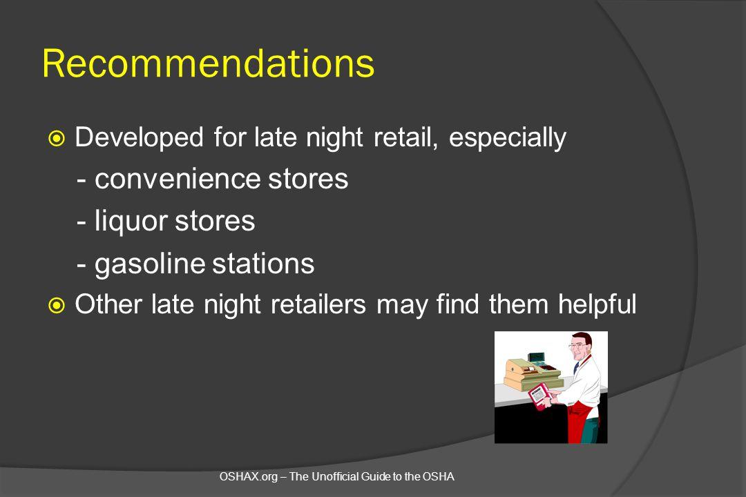 Recommendations - convenience stores - liquor stores