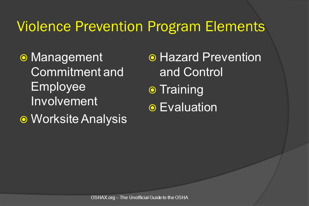 Violence Prevention Program Elements
