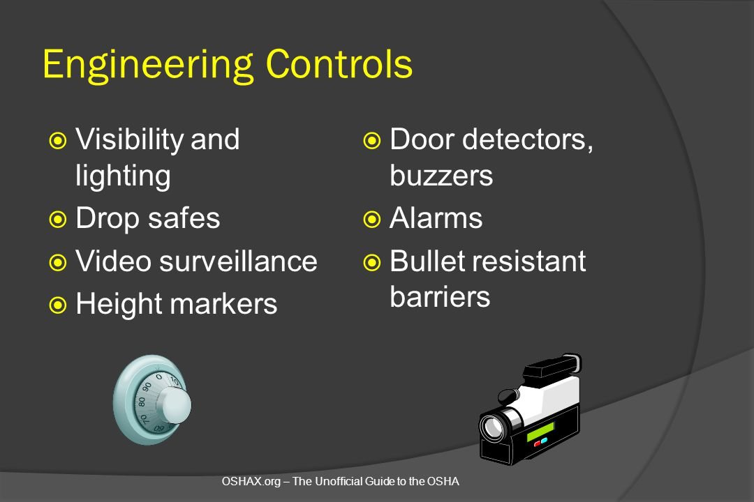 Engineering Controls Visibility and lighting Drop safes