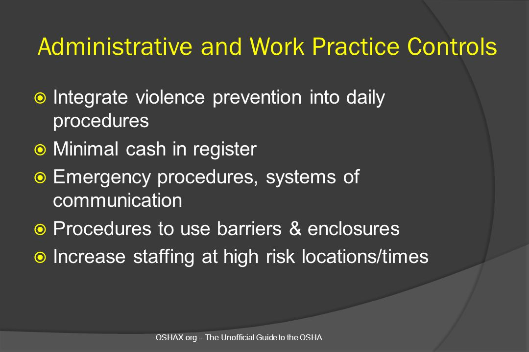 Administrative and Work Practice Controls