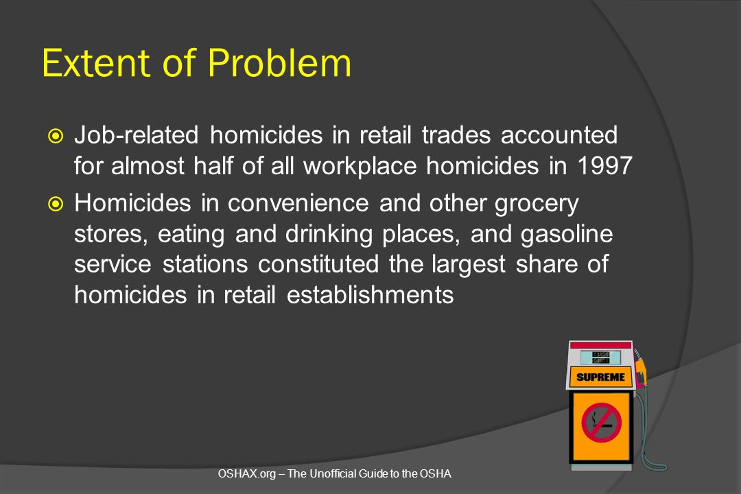 Extent of Problem Job-related homicides in retail trades accounted for almost half of all workplace homicides in 1997.