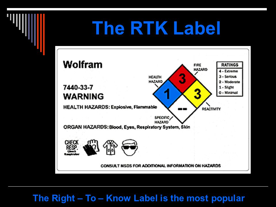 The RTK Label The Right – To – Know Label is the most popular
