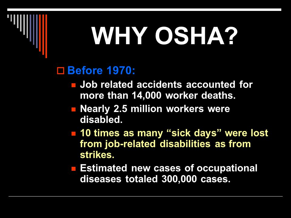WHY OSHA Before 1970: Job related accidents accounted for more than 14,000 worker deaths. Nearly 2.5 million workers were disabled.