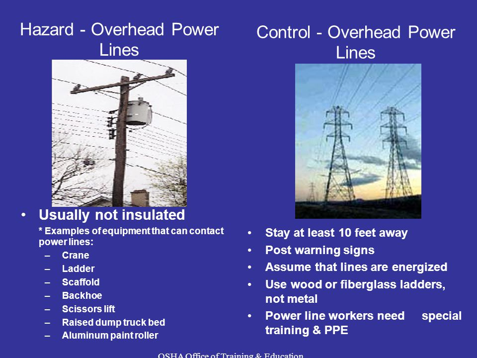 Control - Overhead Power Lines Hazard - Overhead Power Lines